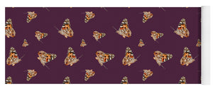 Butterfly Wings Pattern - Wine/Burgundy - Yoga Mat