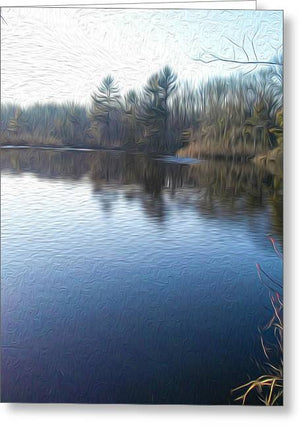 Chartley Brook Pond, Attleboro, MA - Greeting Card