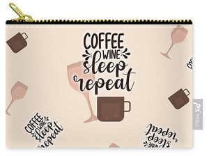 Coffee Wine Sleep Repeat Pattern - Carry-All Pouch