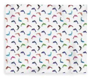Colorful Dolphins Pattern - Blanket