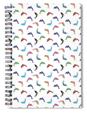 Colorful Dolphins Pattern - Spiral Notebook