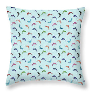 Colorful Dolphins Pattern on Teal - Throw Pillow