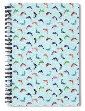 Colorful Dolphins Pattern on Teal - Spiral Notebook