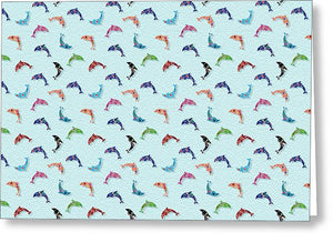 Colorful Dolphins Pattern on Teal - Greeting Card