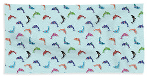 Colorful Dolphins Pattern on Teal - Bath Towel