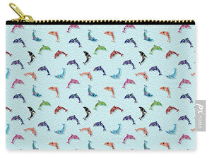 Colorful Dolphins Pattern on Teal - Carry-All Pouch