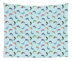 Colorful Dolphins Pattern on Teal - Tapestry