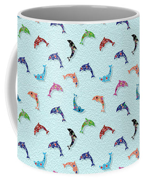 Colorful Dolphins Pattern on Teal - Mug