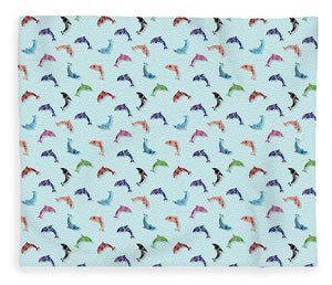 Colorful Dolphins Pattern on Teal - Blanket