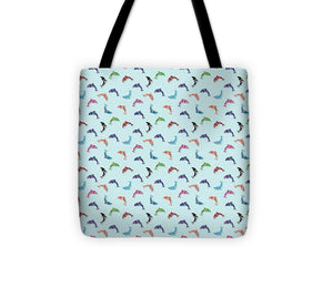 Colorful Dolphins Pattern on Teal - Tote Bag