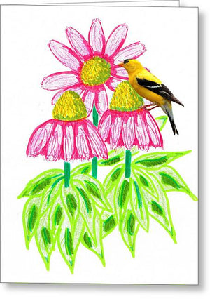 Coneflowers and Goldfinch - Greeting Card