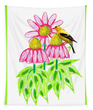 Coneflowers and Goldfinch - Tapestry
