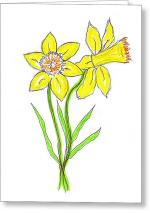 Daffodil Times Two - Greeting Card