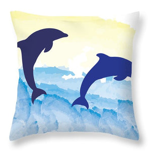 Dolphins 2 of 2 - Throw Pillow