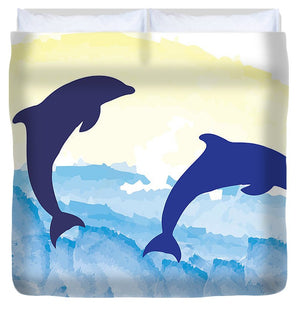 Dolphins 2 of 2 - Duvet Cover