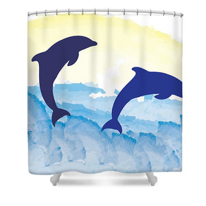 Dolphins 2 of 2 - Shower Curtain