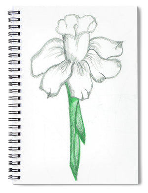 Flower Pencil Sketch - Selective Color - Spiral Notebook