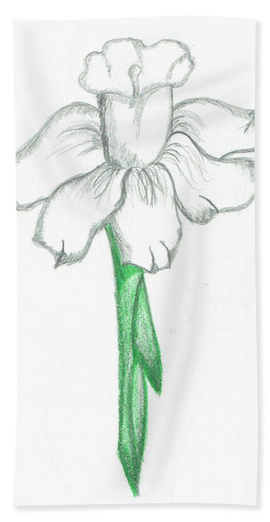 Flower Pencil Sketch - Selective Color - Bath Towel