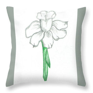 Flower Pencil Sketch - Selective Color - Throw Pillow