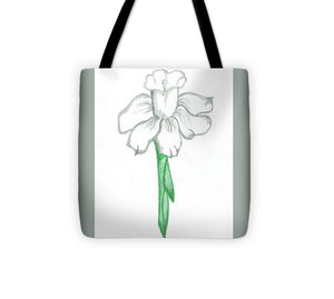Flower Pencil Sketch - Selective Color - Tote Bag