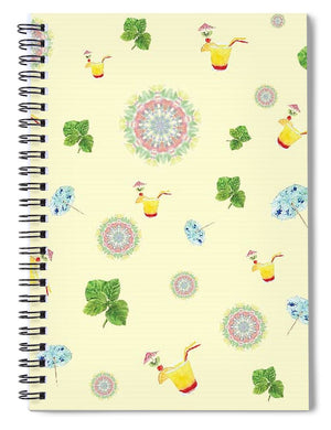 Fruity Cocktails Pattern - Spiral Notebook
