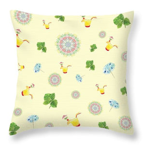 Fruity Cocktails Pattern - Throw Pillow