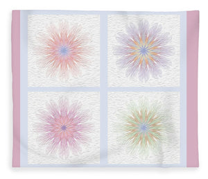 Happy Together Flowers Quadriptych - Stylized - Blanket