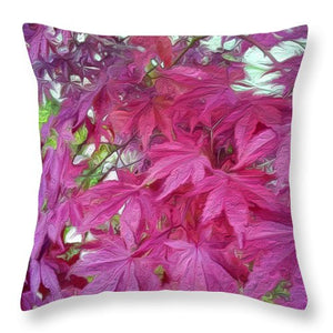 Japanese Maple Leaves - Stylized - Throw Pillow