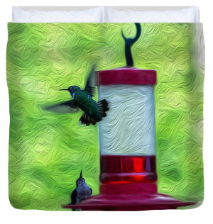 Just Passing Through - Hummingbirds - Duvet Cover