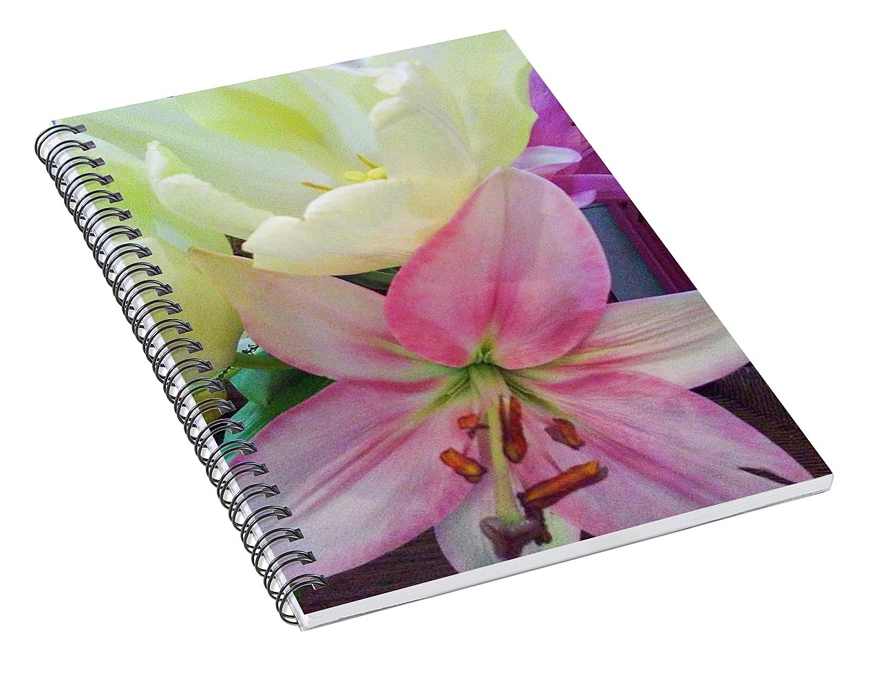 Lily and Tulips - Spiral Notebook