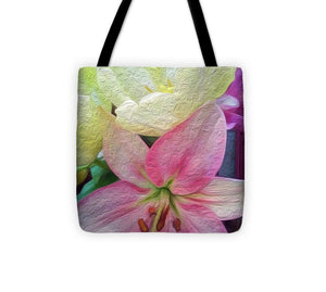 Lily and Tulips - Stylized - Tote Bag