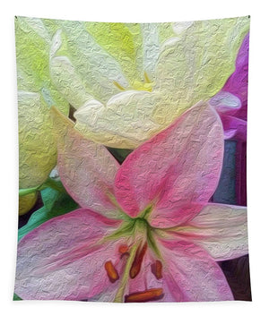 Lily and Tulips - Stylized - Tapestry