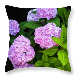Martha's Vineyard Hydrangeas 2 - Stylized - Throw Pillow
