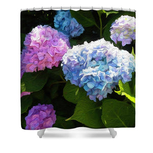 Martha's Vineyard Hydrangeas - Stylized - Shower Curtain