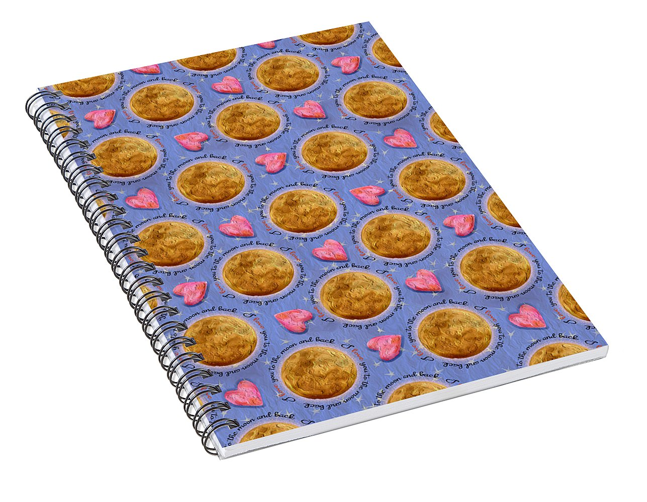 Moon Stars and Hearts - Spiral Notebook