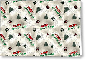 Paw Prints and Christmas Trees Pattern - Greeting Card
