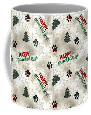 Paw Prints and Christmas Trees Pattern - Mug