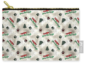 Paw Prints and Christmas Trees Pattern - Carry-All Pouch