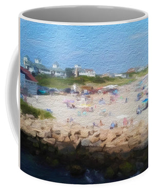 People On A Beach, Narragansett, RI - Stylized - Mug