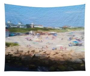 People On A Beach, Narragansett, RI - Stylized - Tapestry