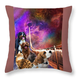 Rainbow Bridge - Cats and Dogs - Throw Pillow
