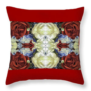Red White and Blue Floral Pattern - Throw Pillow