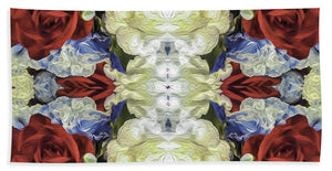 Red White and Blue Floral Pattern - Beach Towel