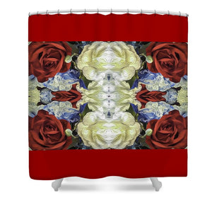 Red White and Blue Floral Pattern - Shower Curtain