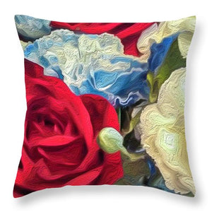 Red White and Blue Floral - Throw Pillow