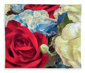 Red White and Blue Floral - Blanket