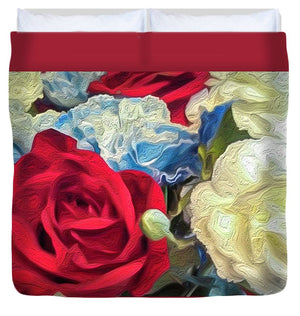 Red White and Blue Floral - Duvet Cover