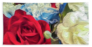 Red White and Blue Floral - Bath Towel