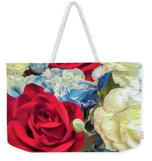 Red White and Blue Floral - Weekender Tote Bag