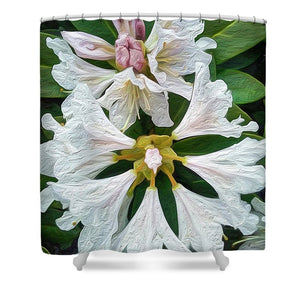 Rhododendron Flowers - Stylized - Shower Curtain